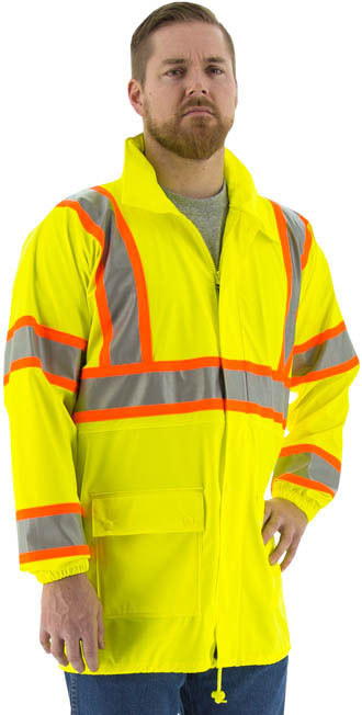 •	- High visibility yellow polyester rain jacket with polyurethane coating •	- Breathable and stretchable •	- Double welded waterproof seams •	- Outer pockets with snap closure storm flaps •	- Zipper closure with snap closure storm flaps •	- Concealed hood with zipper closure70 •	- Elastic wrists and pull string waist for superior fit                           #70940 •	- 3M Scotchlite™ reflective striping with contrasting orange D.O.T. striping  •	- Unlined for warm weather comfort •	- Meets ANSI 107-2015 Class 3, Type R Standard •	- Sizes medium thru 6x