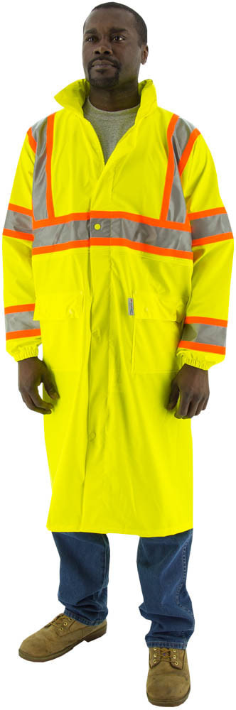 "•	- High visibility yellow polyester rain coat with polyurethane coating •	- 48"" long •	- Breathable and stretchable •	- Double welded waterproof seams •	- Outer pockets with snap closure storm flaps •	- Zipper closure with snap closure storm flaps                                   #70900 •	- Concealed hood with zipper closure •	- Elastic wrists •	- 3M Scotchlite™ reflective striping with contrasting orange D.O.T. striping  •	- Unlined for warm weather comfort •	- Meets ANSI 107-2015 Class 3, Type R Standard •	- Sizes medium thru 6x"